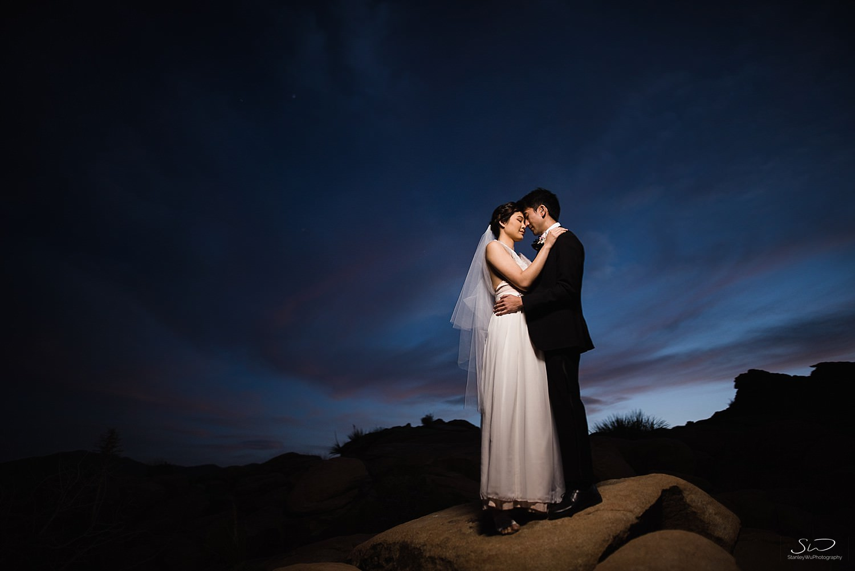 Epic blue hour portrait with flash | Joshua Tree Desert Wedding, Engagement, Elopement, Adventure Inspiration