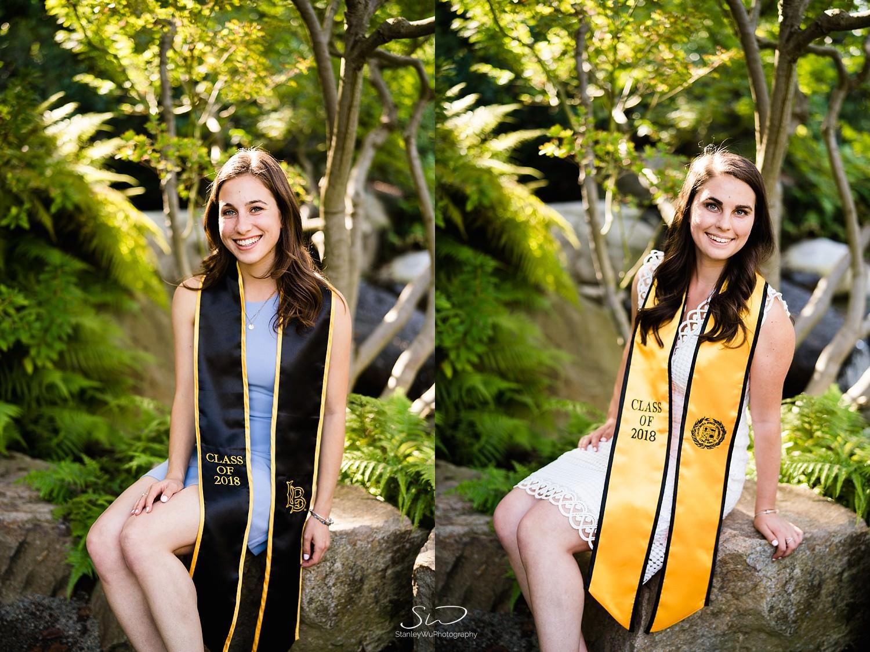 two girls smiling graduation portraits at csulb earl burns miller japanese garden