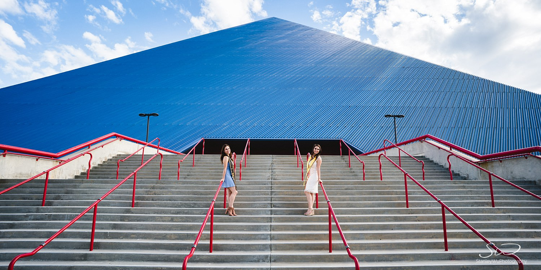 epic landscape shot graduation portraits at csulb pyramid