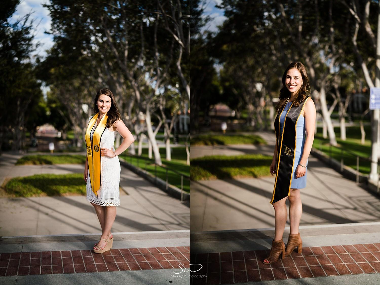 twin sisters smiling  graduation portraits at csulb