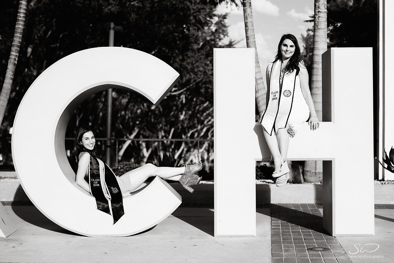 black and white go beach sign graduation senior photos portraits at csulb