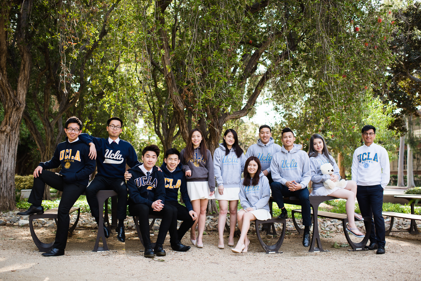 classic group photo wearing collegiate bearwear attire at ucla
