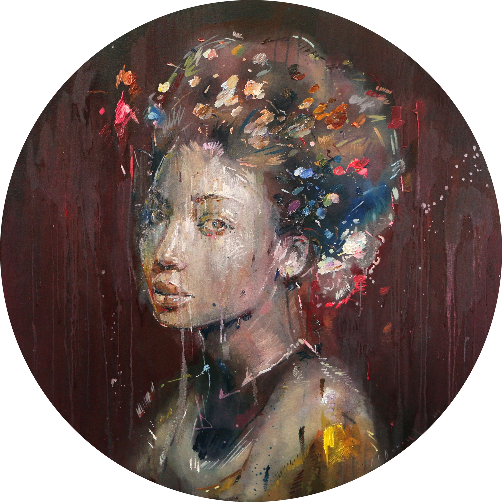 Ocular (Ellen-Sharma) . Oil on canvas. 110cm diameter.