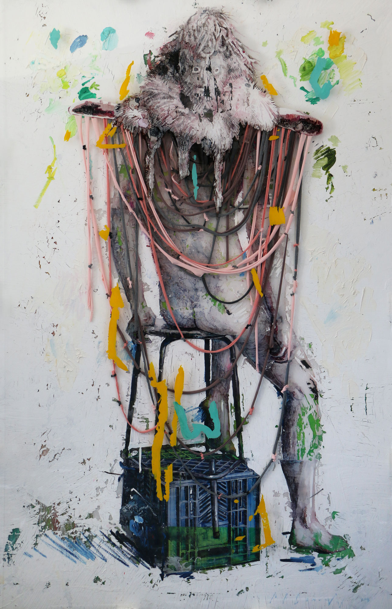 Enclosed Scope . Oil, glass stain and cloth, on Plexiglas and canvas. 180cm x 116cm x 5,5cm.