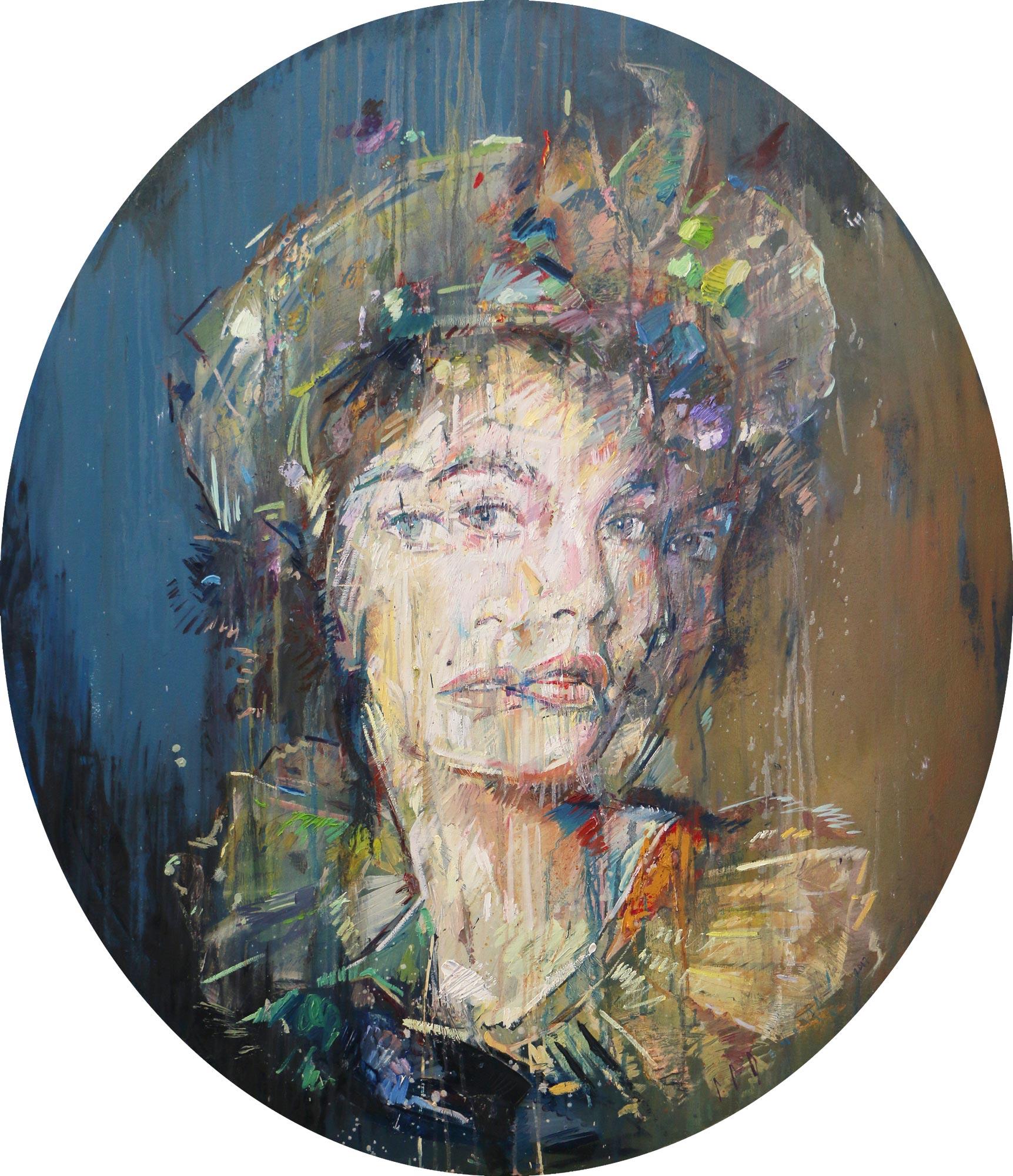 Prismatic Poise (Urd Rosso). Oil on canvas. 130cm x 112cm.