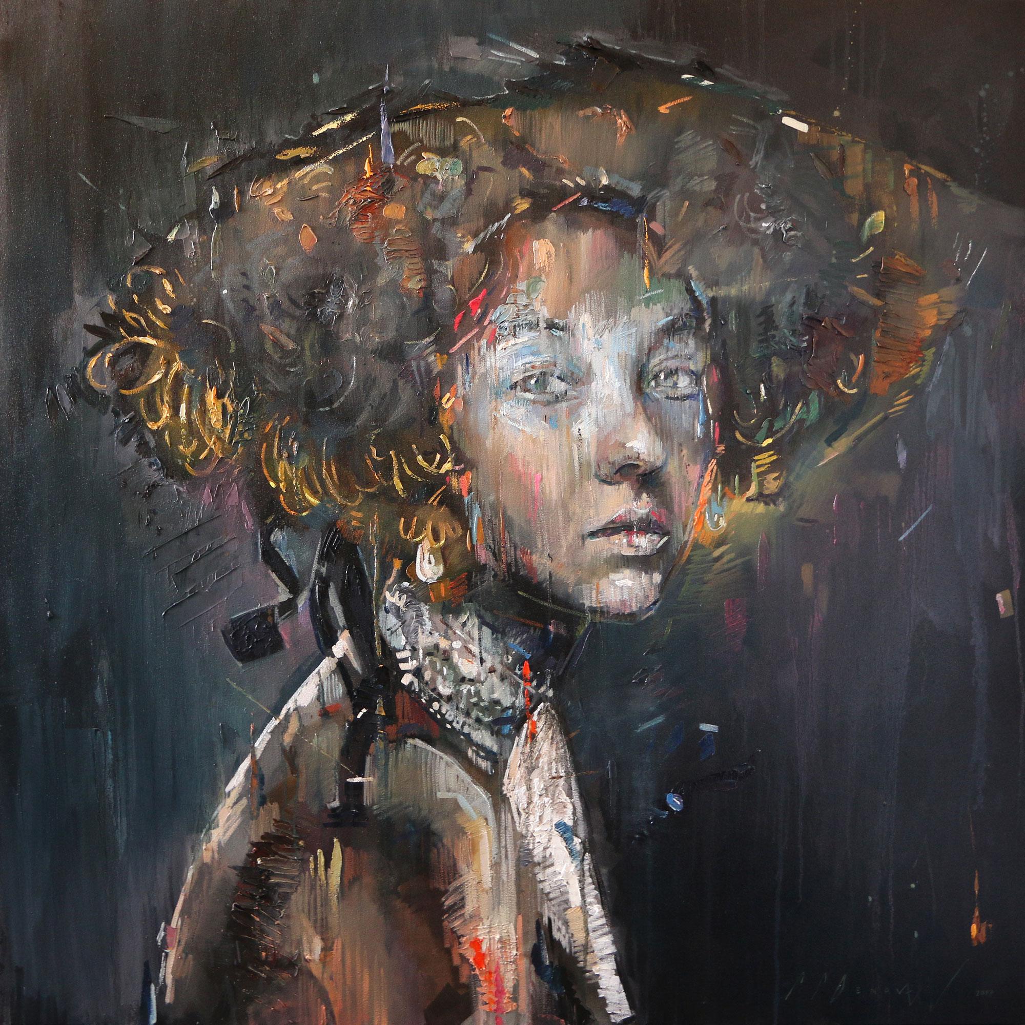 Descent (Crina Earls).  Oil on canvas.130cm x 130cm.