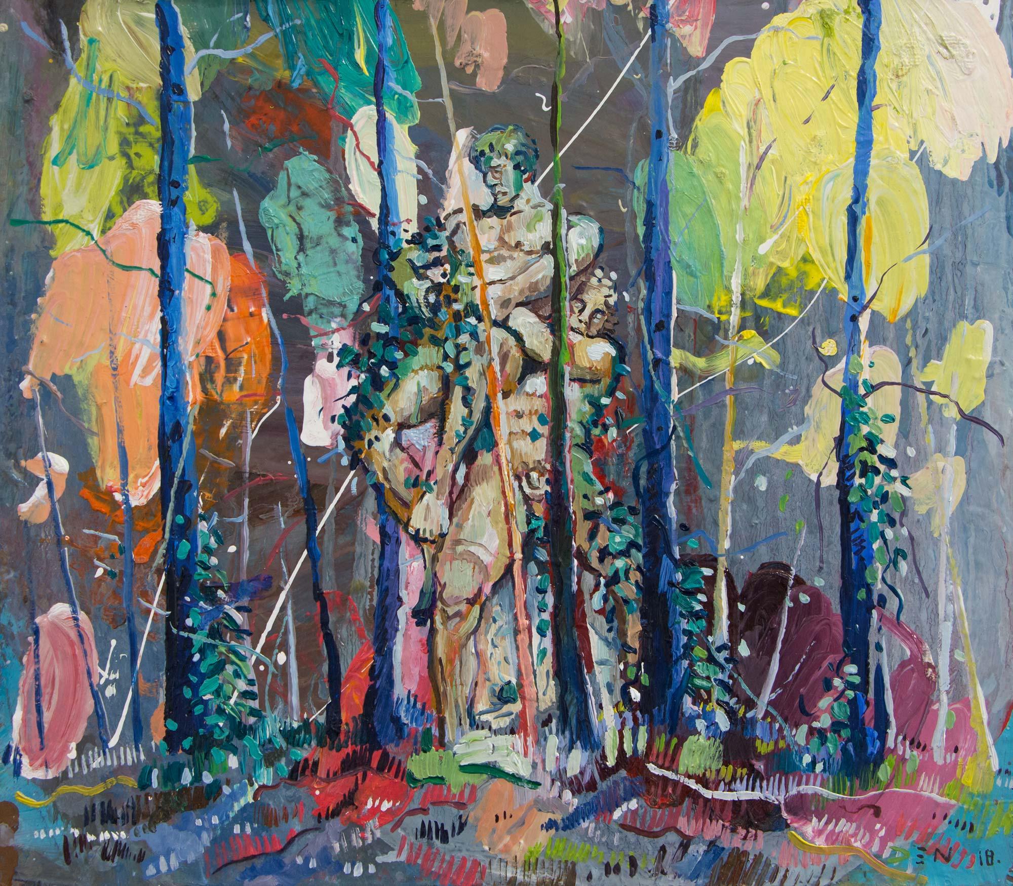 Sixteen Trees. Oil on board.35cm x 40cm