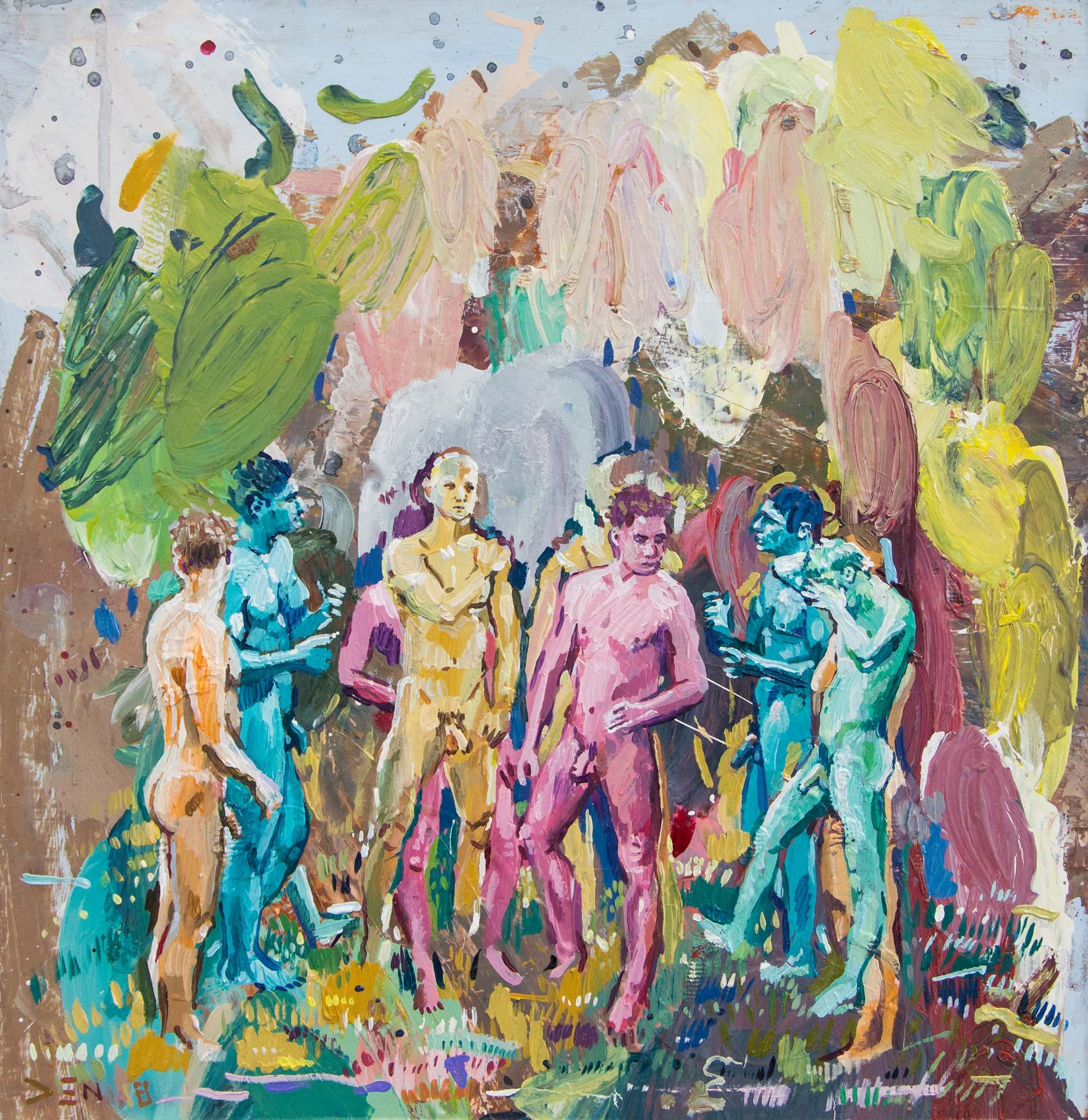 Jeunes Hommes De Films Pour Adultes. Oil on board. 35cm x 34cm