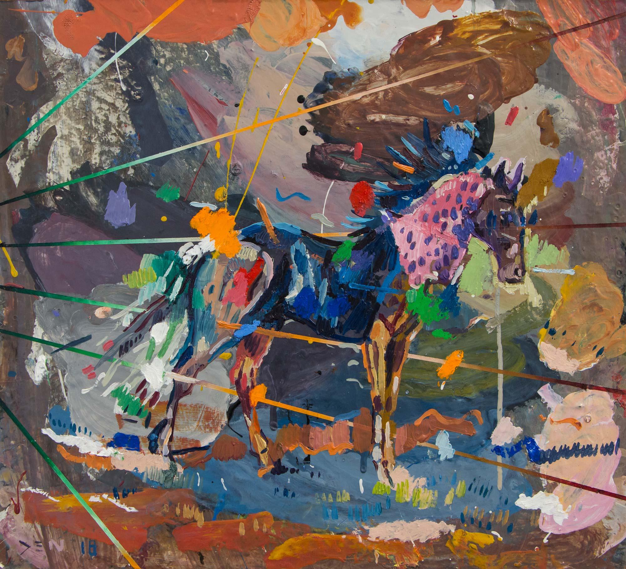 Colour Attacking a Horse. Oil on board. 35cm x 39,5cm