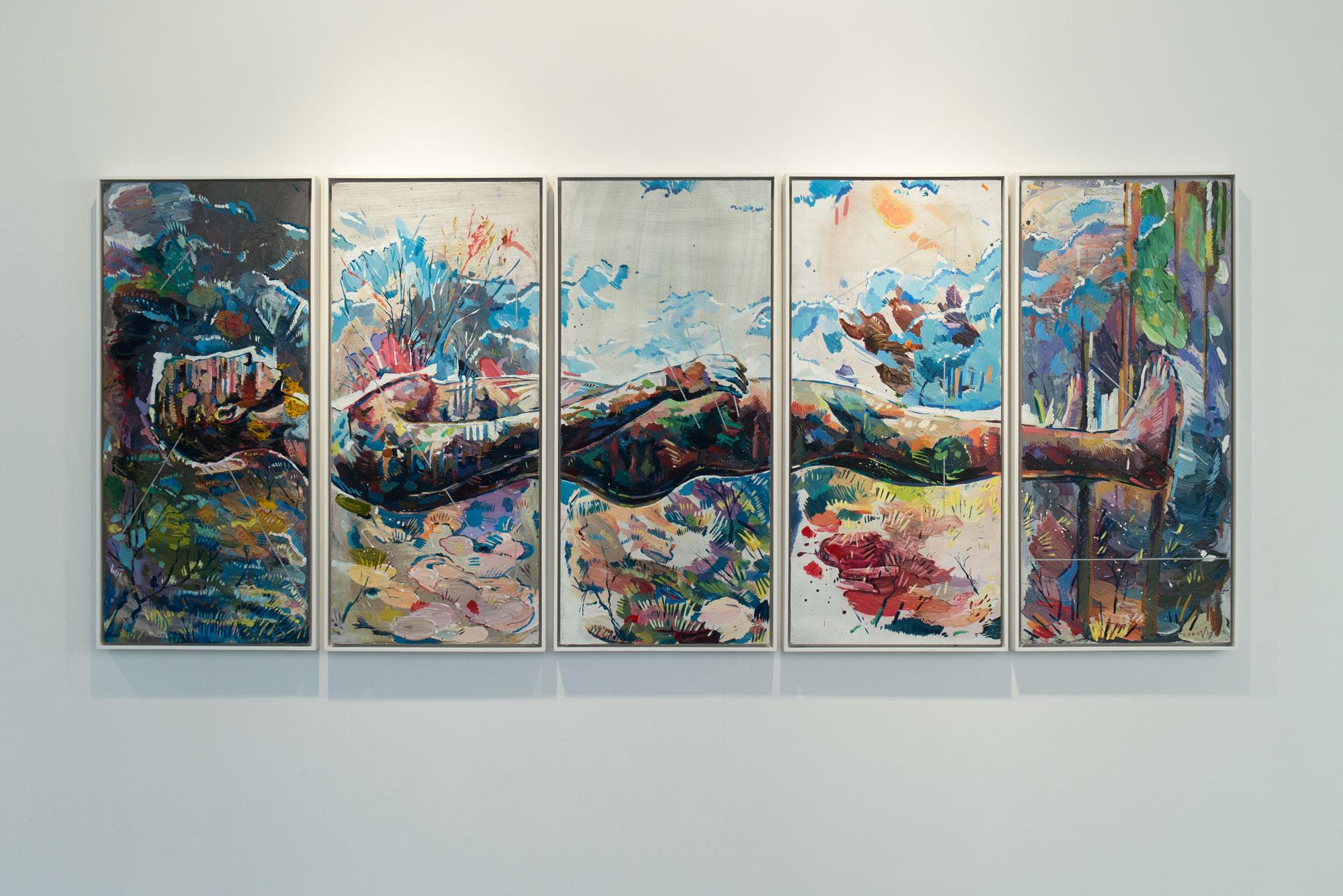 Horizon St Sebastian.Oil on board.Five Panels of 46.5cm x 101.5cm each