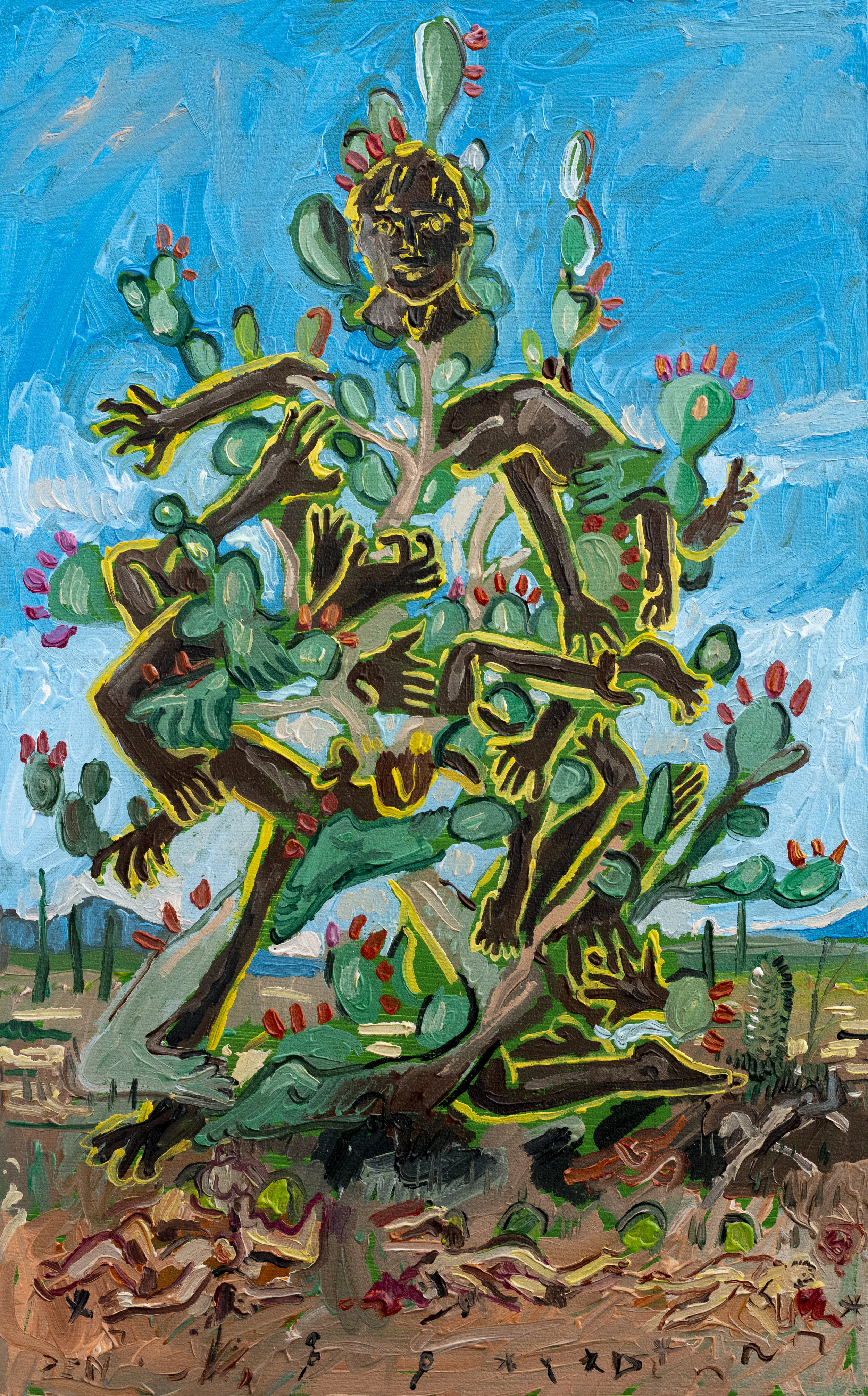 The Prickly Pear Monster, 2019, Oil on Board, 25cm x 40cm