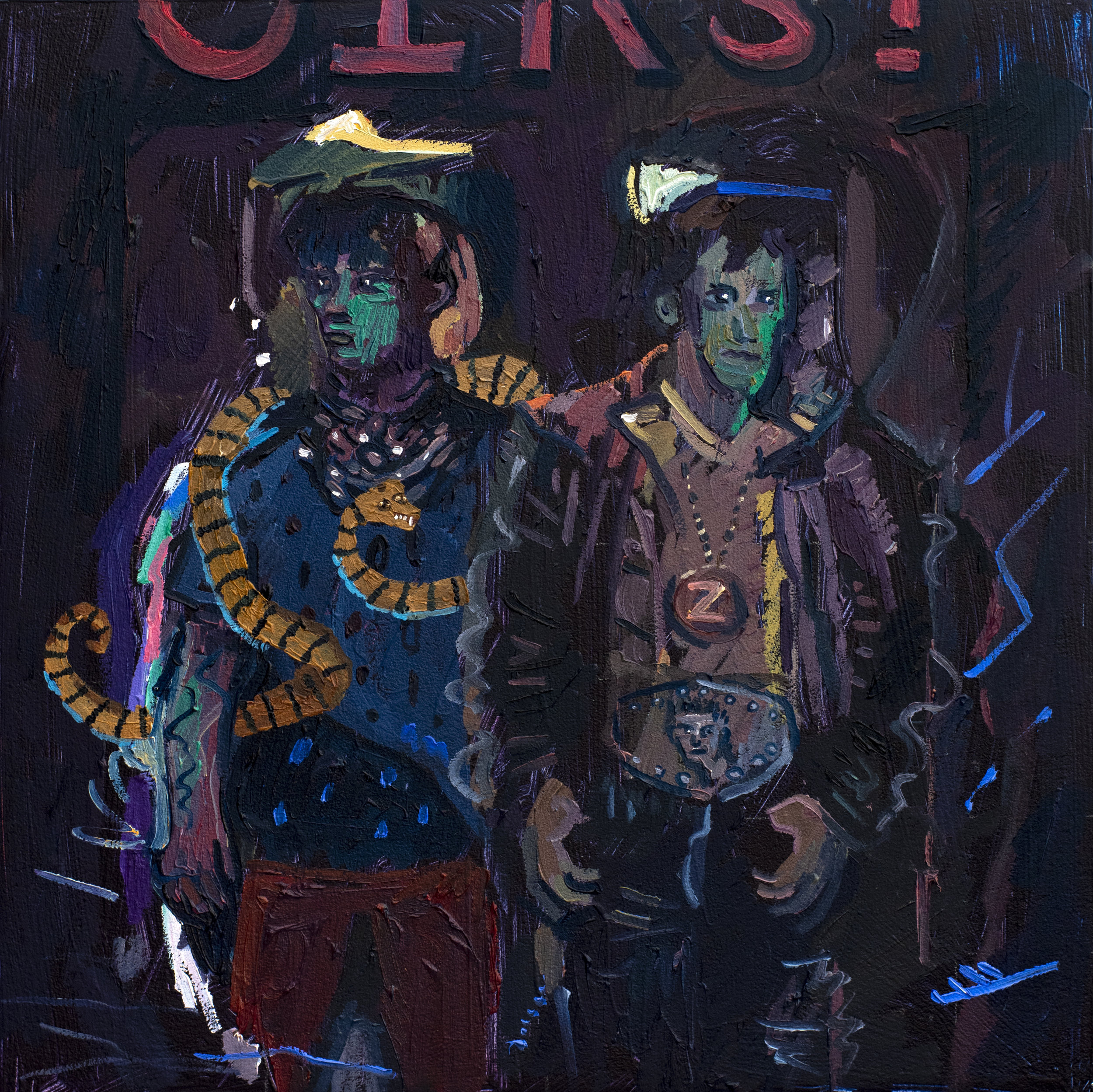 Suspicion, Murder and Mr Snake Enter a Bar, 2019, Oil on Canvas, 35cm x 35cm