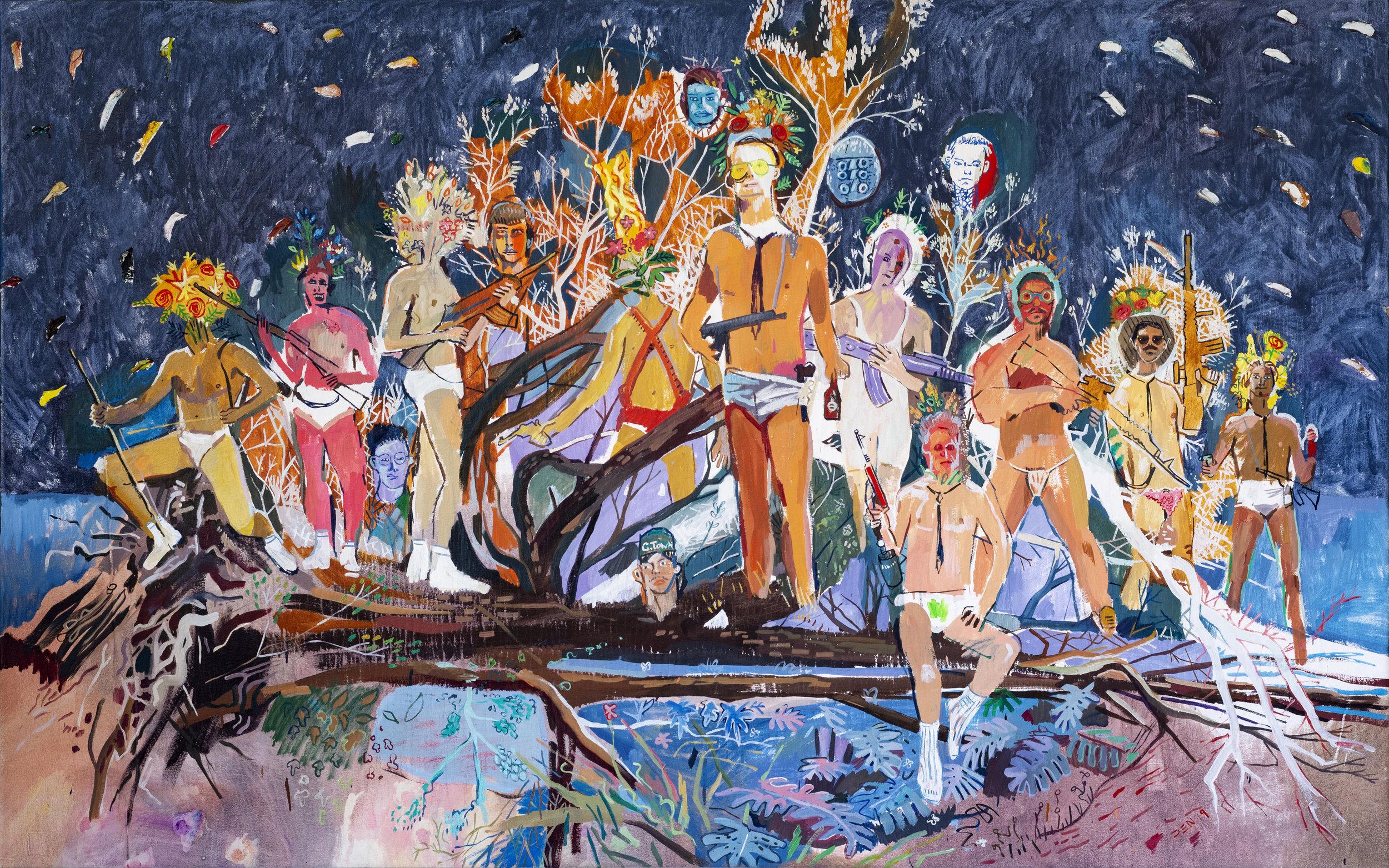 Suburban Park Ruffians, 2019, Oil on Canvas, 240cm x 150cm