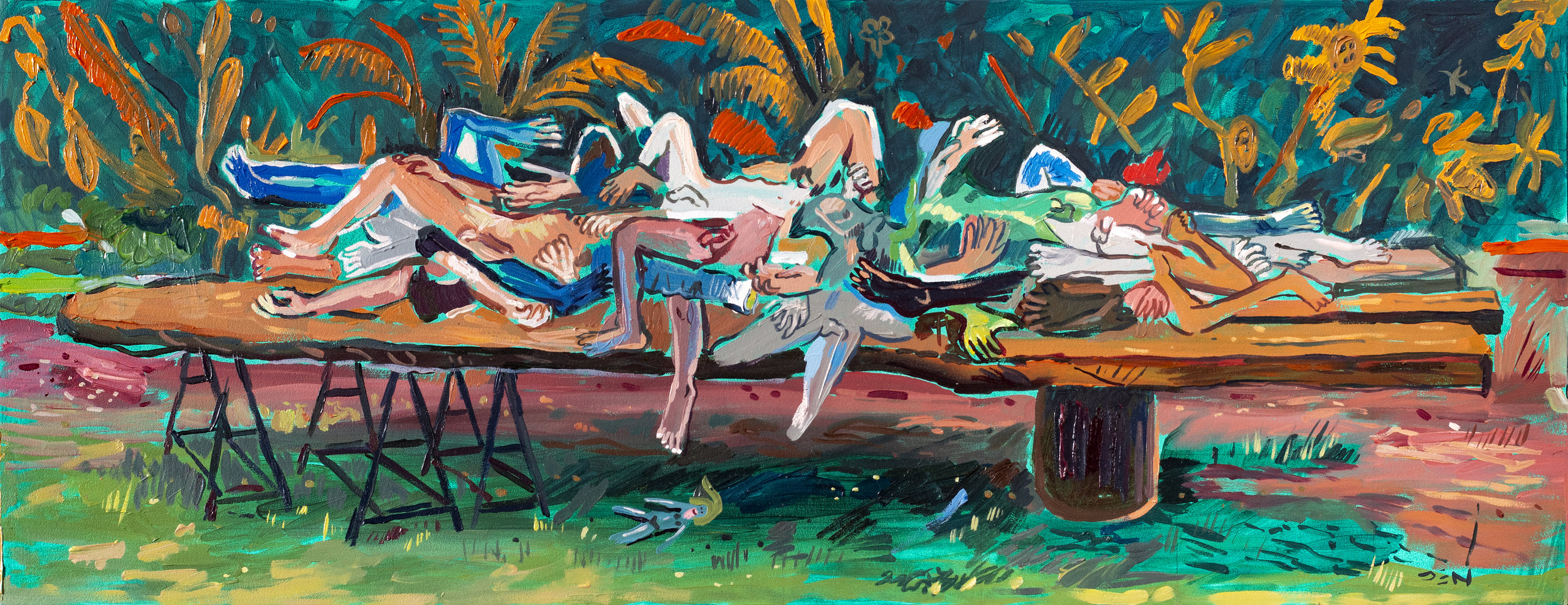 Still Life with Arms and Legs, 2019, Oil on Board, 80cm x 31cm