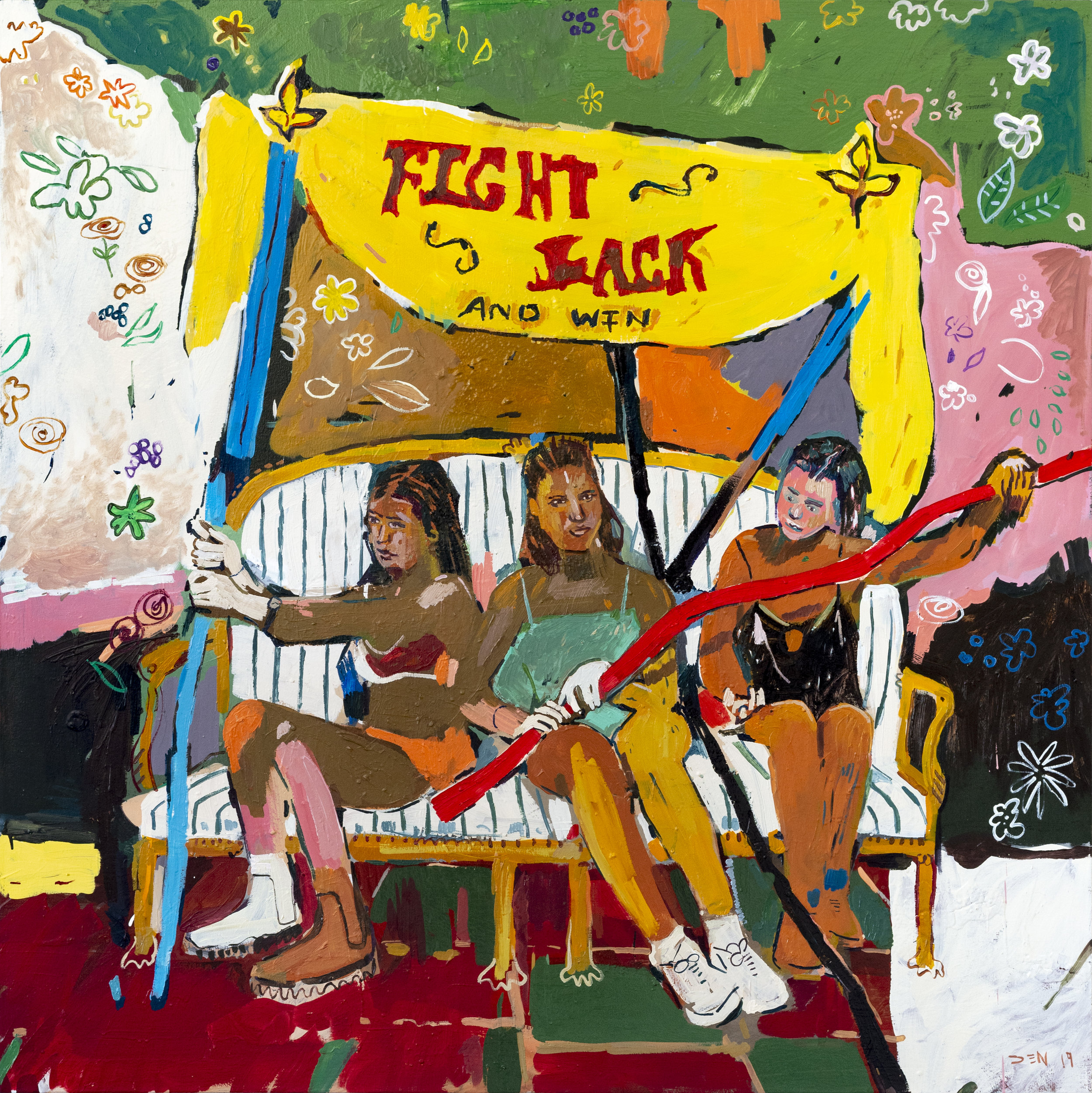 Fight Back and Win, 2019, Oil on Canvas, 130cm x 130cm
