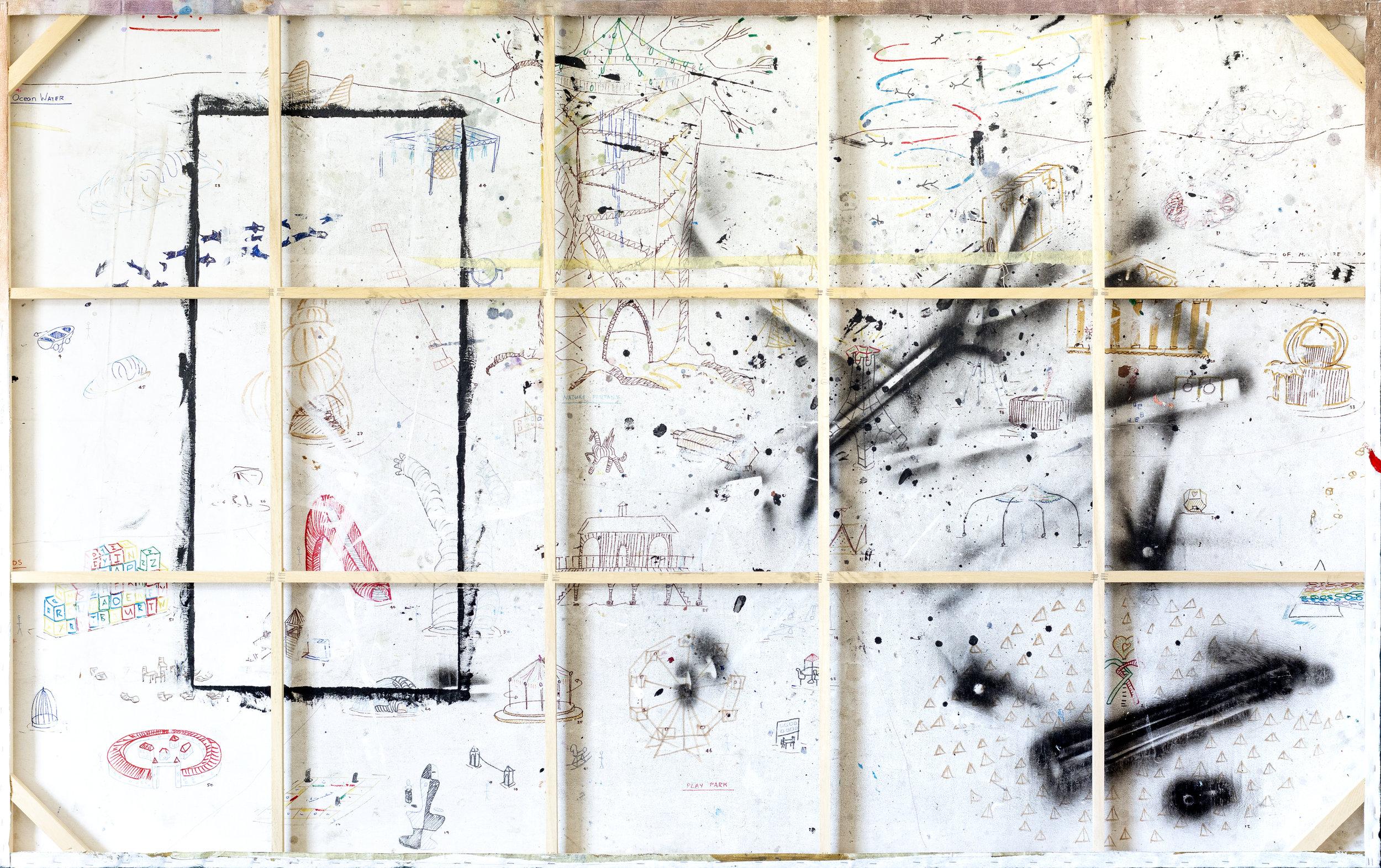 Suburban Park Ruffians (back of canvas), 2019, 240cm x 150cm