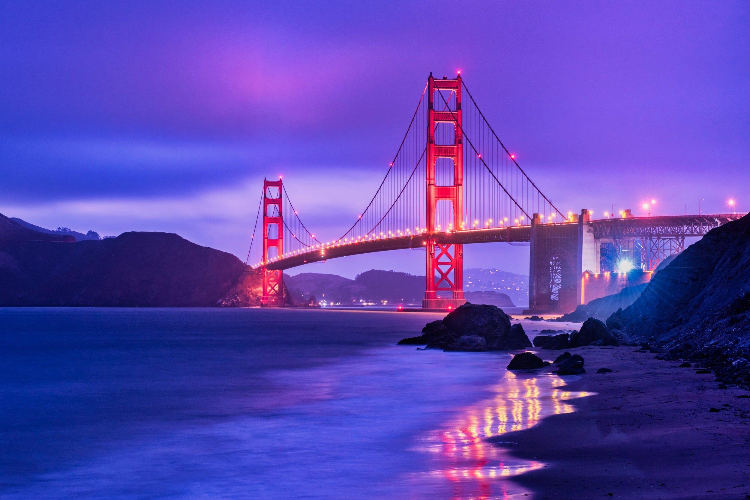25 second blue hour shot of the Golden Gate Bridge ©Deborah Sandidge