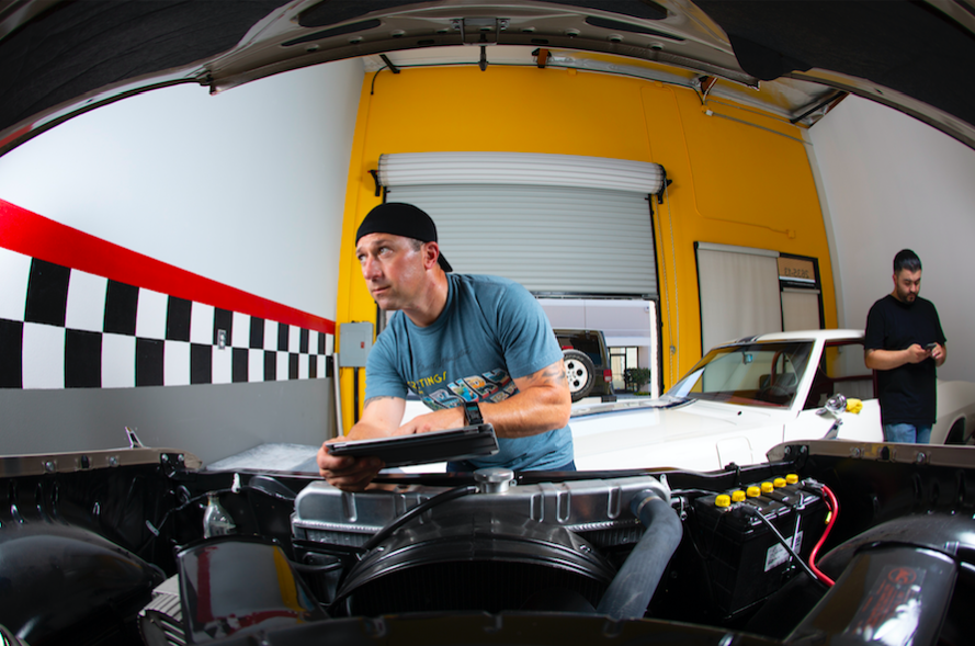 Pictured: Ian Spanier completes a light test prior to his photo shoot with Car Enthusiast Christian Mejia;  Image: Ian Spanier Photography 2018