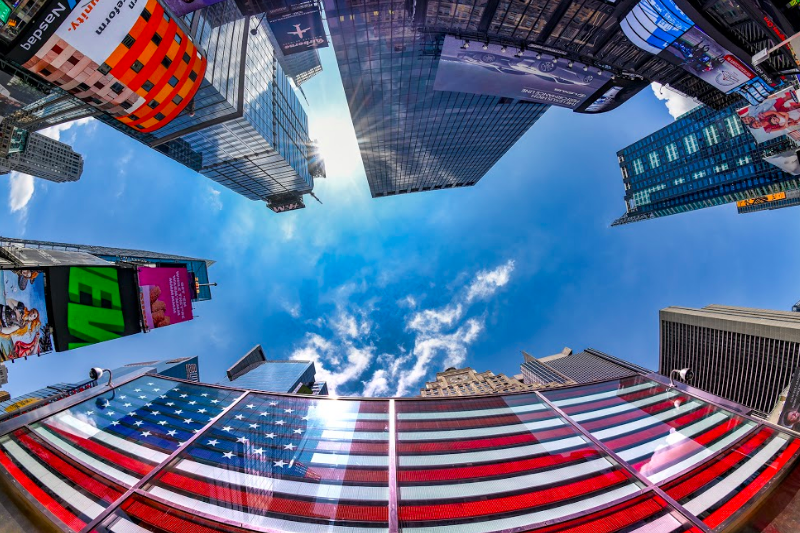Fisheye image of NY Times Square; Image by Deb Sandidge.