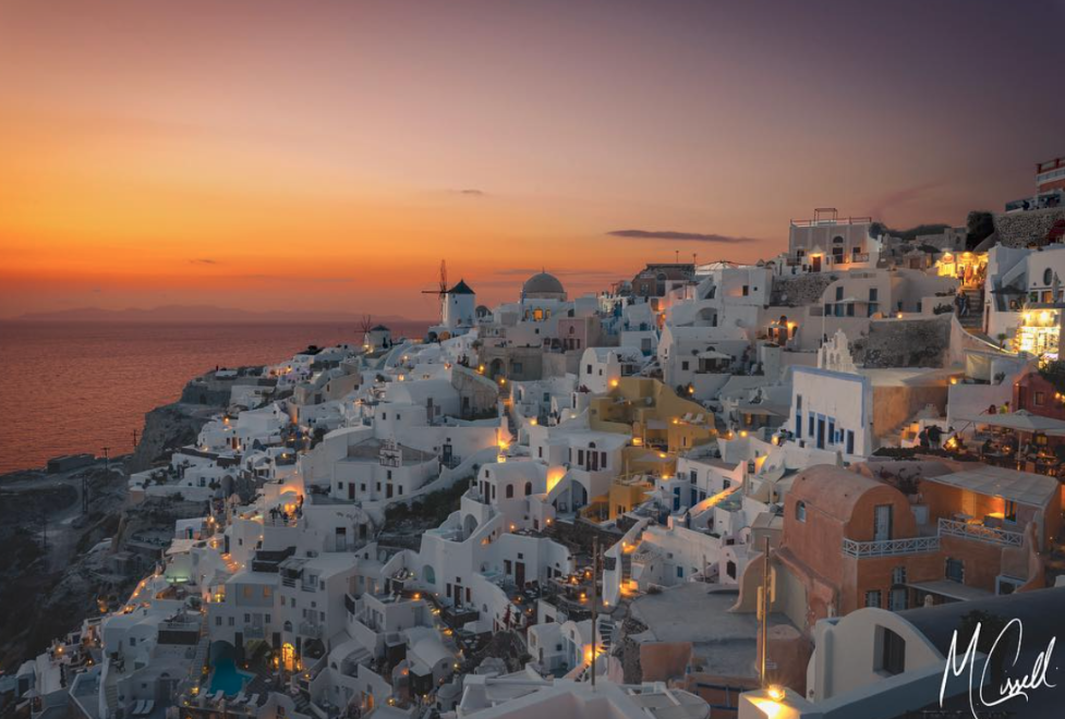 """""""Last Greece photo for a while, I promise. I think I've saved one of the best for last, though. The sunset from Oia in Santorini"""" -  @mcissell"""