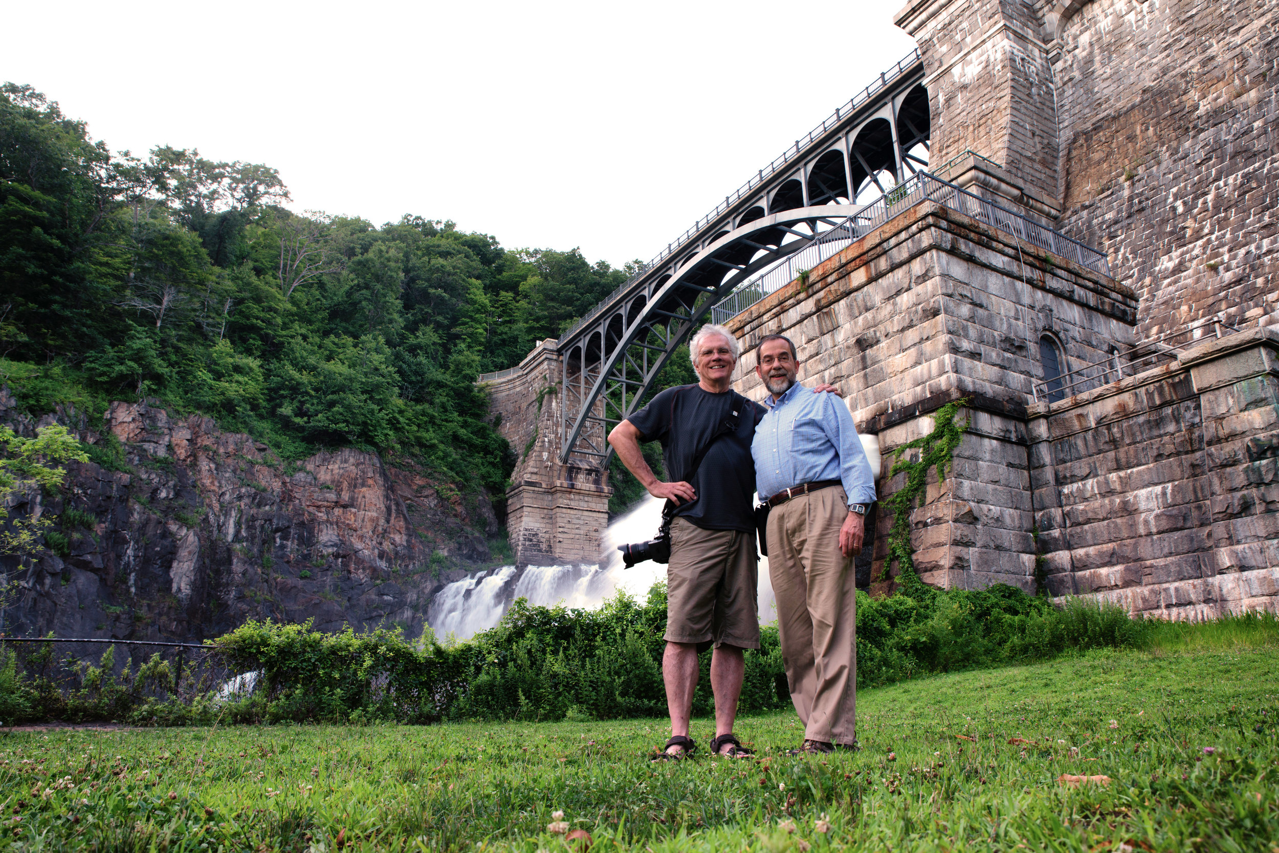 Platypod CEO & Inventor, Dr. Larry Tiefenbrunn (right) alongside Canon Explorer of Light Rick Sammon in front of New Croton Dam, Croton-on-Hudson, NY.