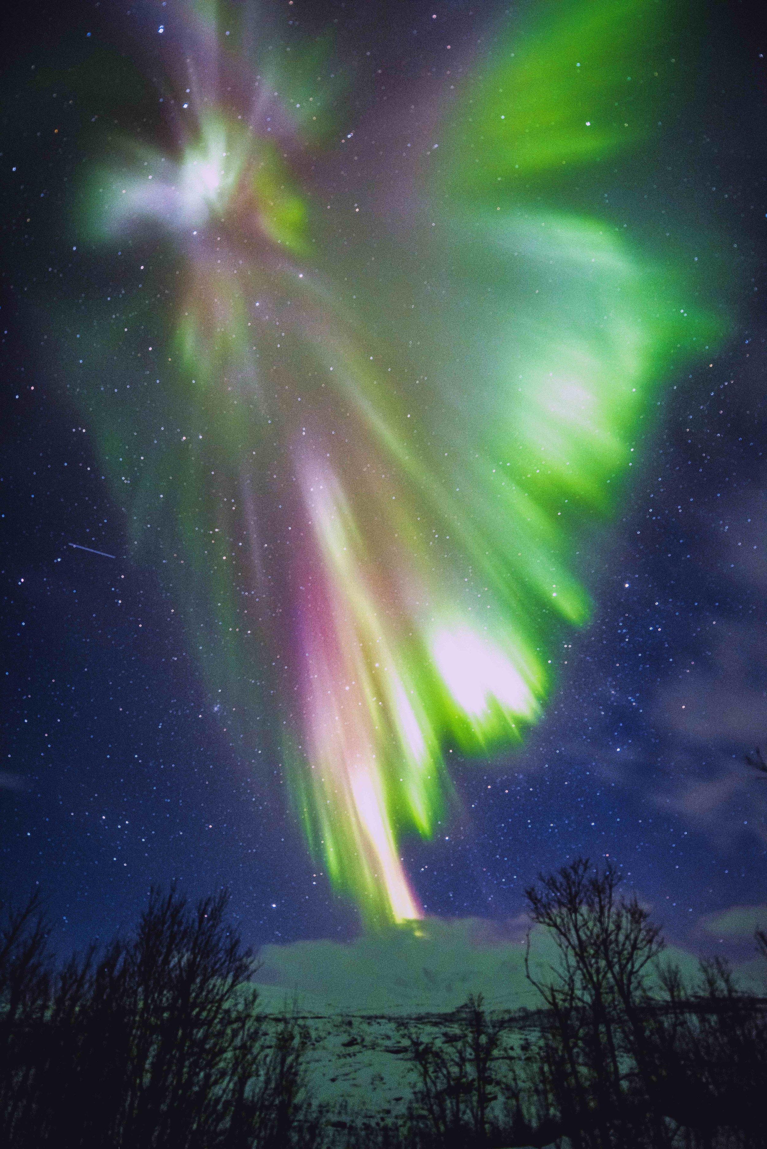 Color burst northern lights long exposure