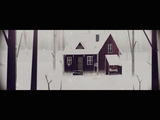 繪本般的  風格,營造出白雪靄靄的孤寂與神秘感。