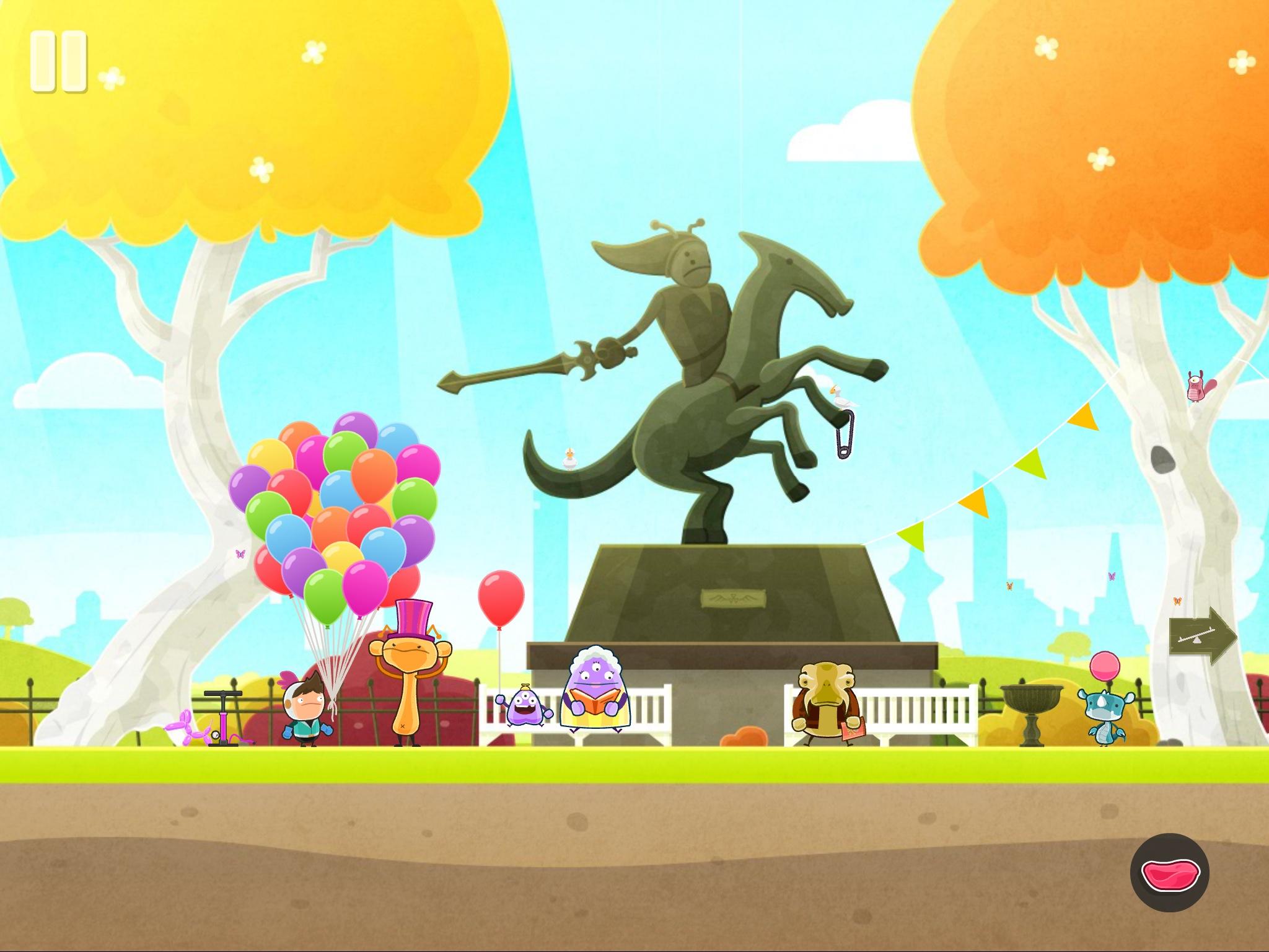 明亮鮮豔的公園場景。本作在玩法和風格上保留了《Tiny Thief》的特色。