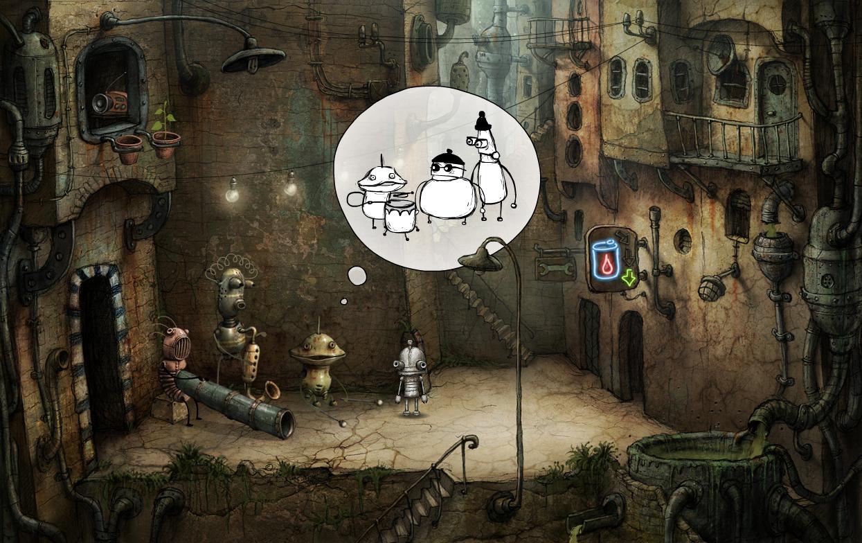 整個遊戲沒有對白,而是以漫畫的氣泡框交代劇情,似乎大家都被壞蛋欺負了。