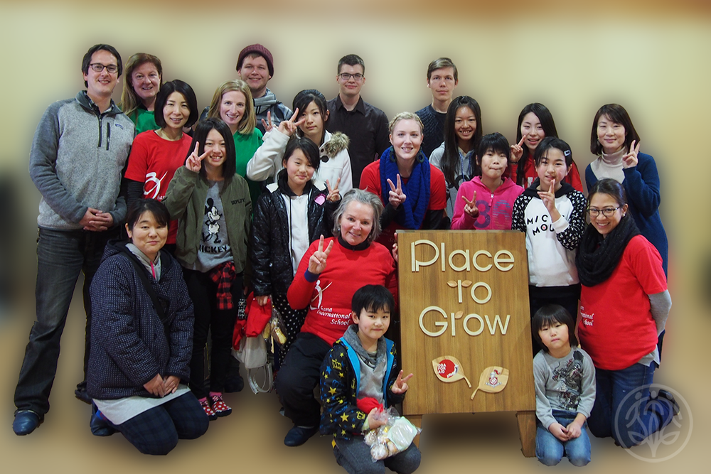Ohana volunteers holding an art workshop in Minami Sanriku as part of the Place to Grow program.