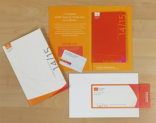 Gold Addy Award – Dr. Phillips Center Membership Fulfillment Kit – Advertising for the Arts & Sciences Collateral – Brochures / Sales Kit
