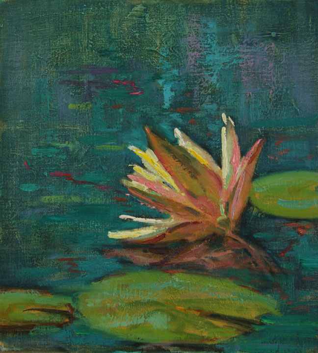 """The Lily Pond""     Oil on Board    11"" x 10"""