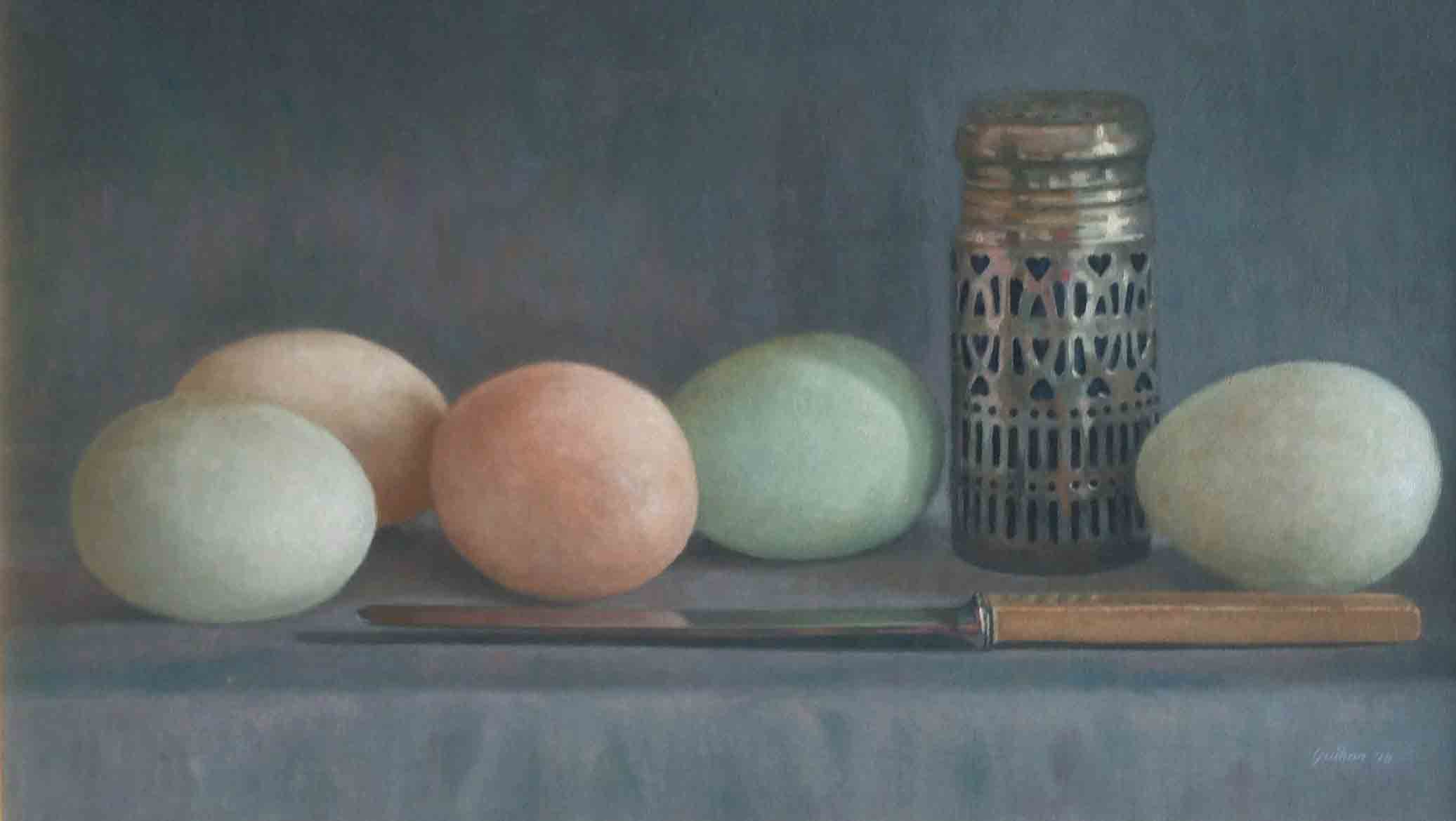 """Duck Eggs & Silver""                     Oil on Canvas Board           12 ins  x  21 ins"