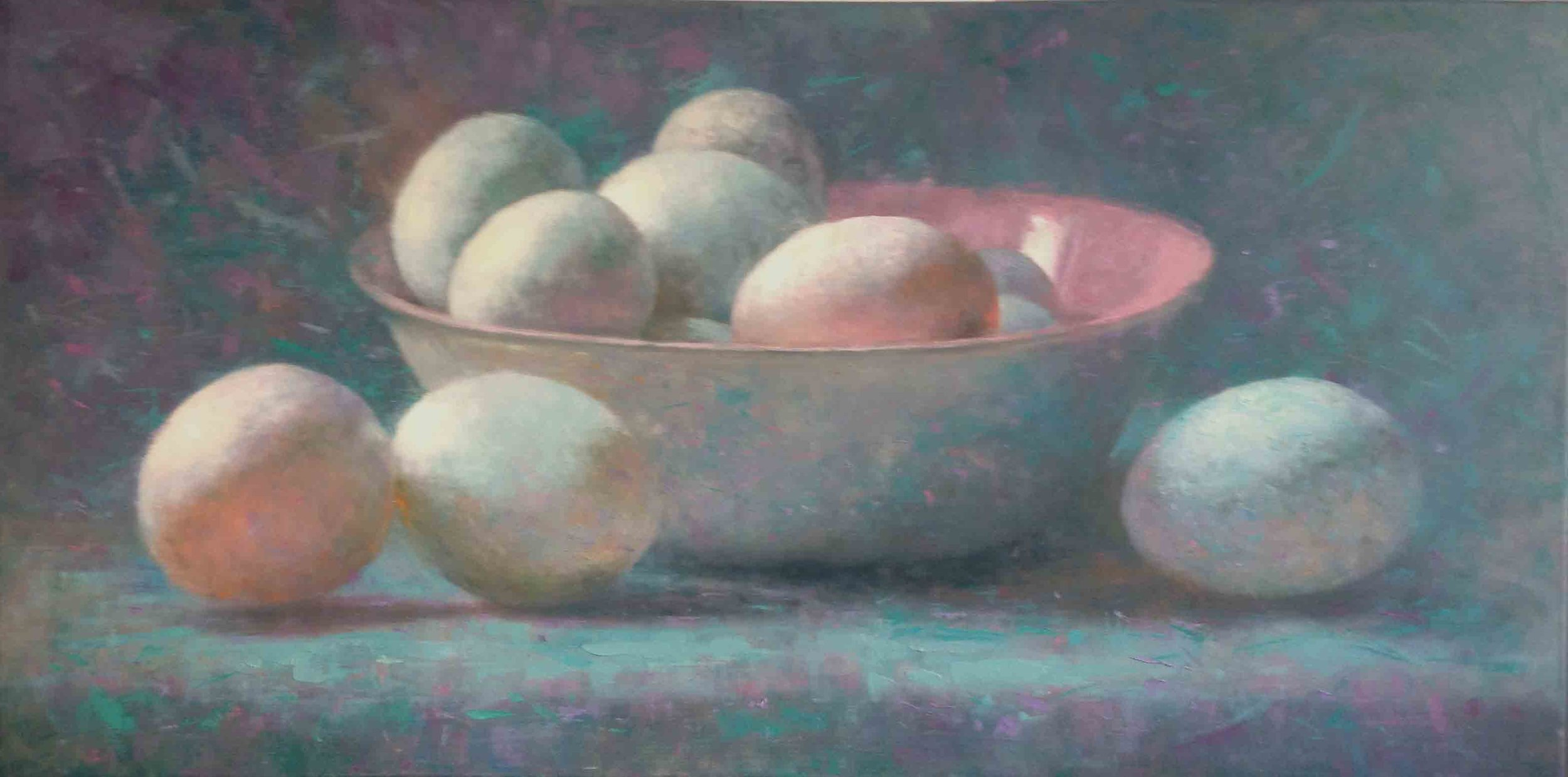 """Duck Eggs with Pink Bowl""         Oil on Canvas                       20 ins x 29 ins"