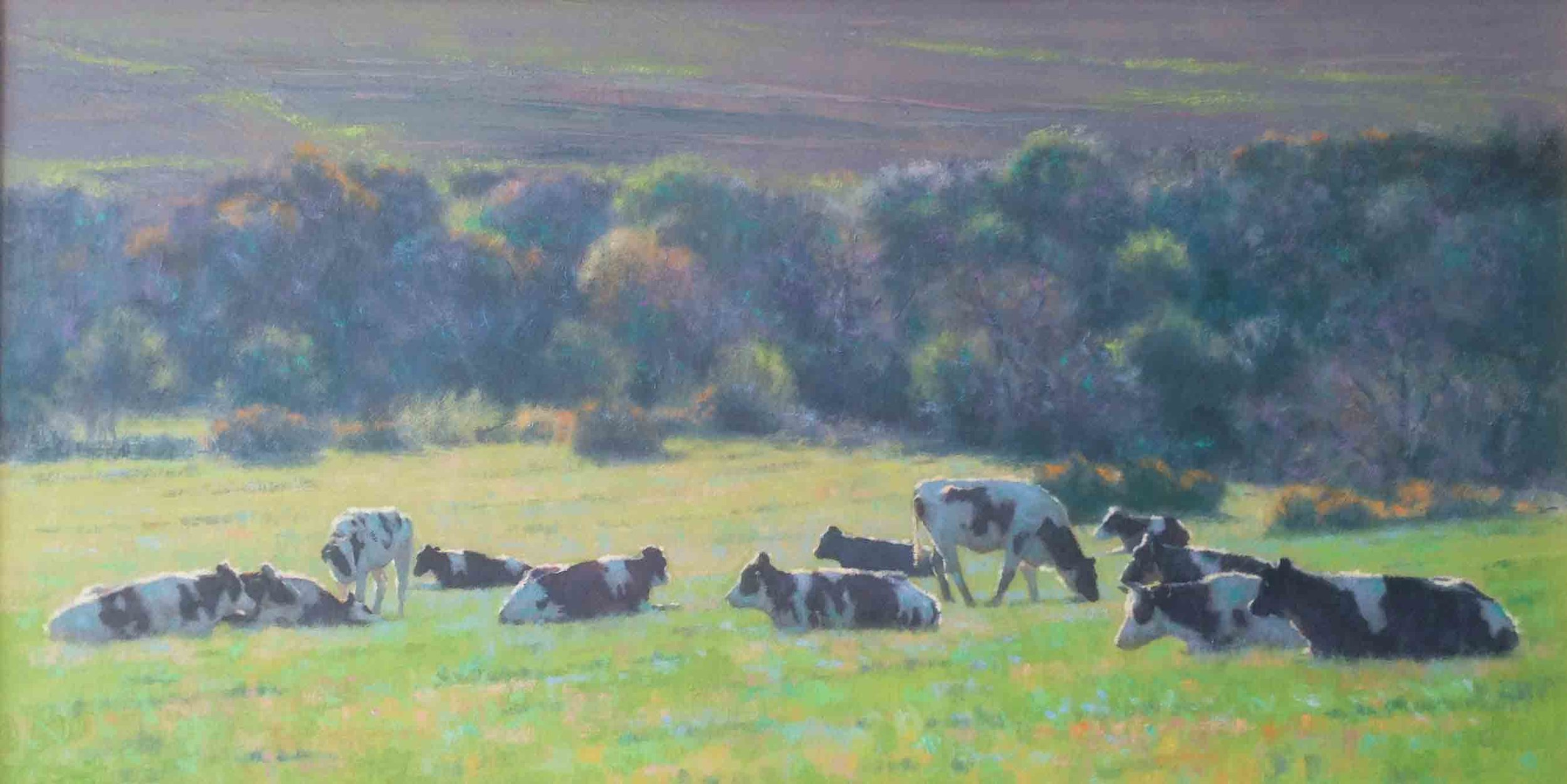 """The Dairy Herd""                              Oil on Canvas Board           12 ins  x 23 ins"