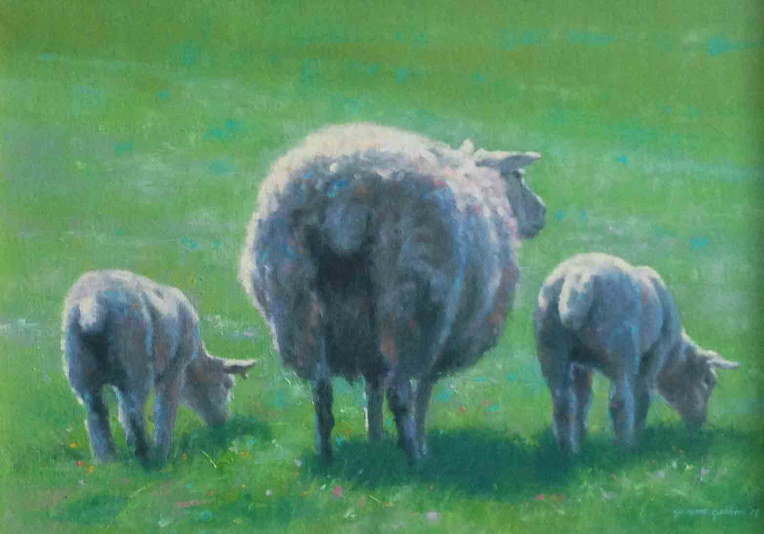 """The Watchful Ewe""                       Oil on Canvas                      10 ins  x 14 ins"