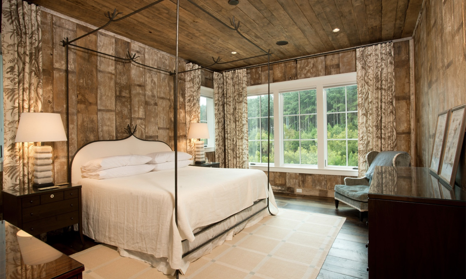 This bedroom is from a home we built custom for a client in Palmetto Bluff. She loves the look for raw wood and wanted it all over! -
