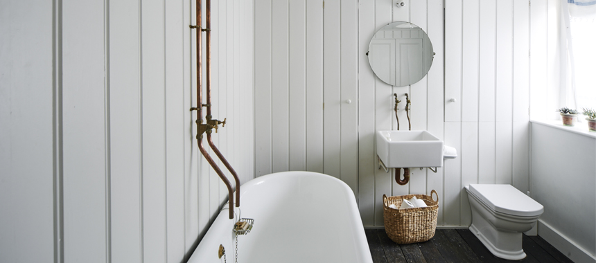 In the Bathroom - Going into baths are exposed pipes, faucets, sink bowls, shower or even floor tiles!