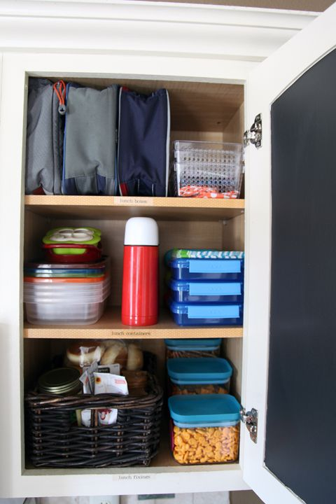 4-Lunchbox Station - keep lunch packing organized by creating a lunchbox station in a cabinet or drawer. Keep lunchboxes, thermos, baggies, plastic storage, plastic utensils and anything else need to pack a lunch in an easy to reach spot! Our cabinet systems are custom built, let us design one for all your lunch needs!