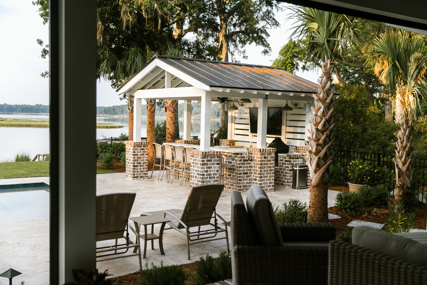 From the pool to the cabana, - …to the porch, each area is perfect for entertaining a large group or to just unwind after a long, hot day. There are many little spaces to sip some wine, watch the sunset and catch up with friends.