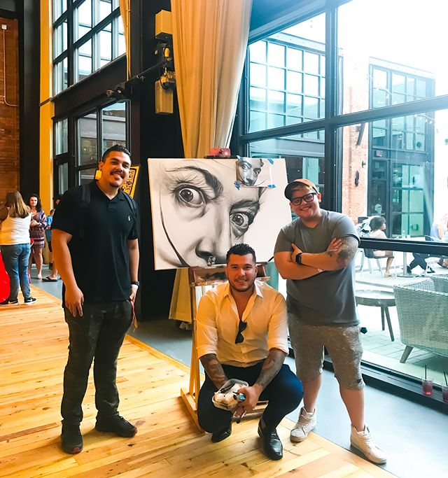 Had a goodnight displaying artwork at Armature Saturday night. Met two great people. It's rare to come across some genuine people that you vibe with in an instant. @giennaro0o @lauraegocheaga looking forward to hanging out some more. The homie @schollsart and I got something dope in the works 👊🏼 stay tuned #tampa #tampaart #dali #salvadordali #marilynmonroe #bobmarley #armatureworks #jamesdean #portraitart #oilpainting #muralart #artcollector