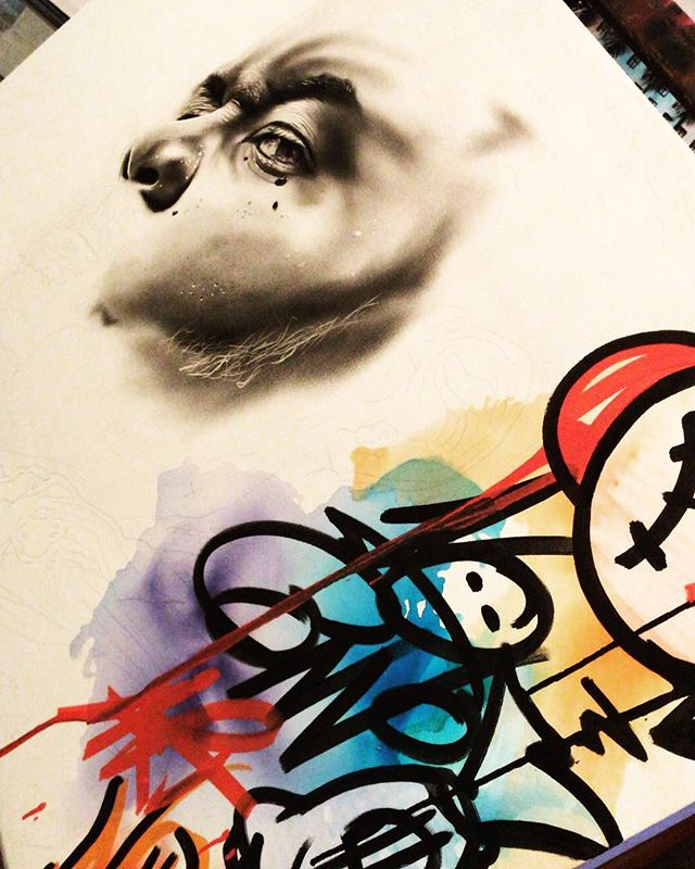 This is just the beginning!!!!!!!!! #streetart #graffiti #portraiture #oilpainting #shadows #noconvo #progress #sketch #laartist #nyartist #tampaartist
