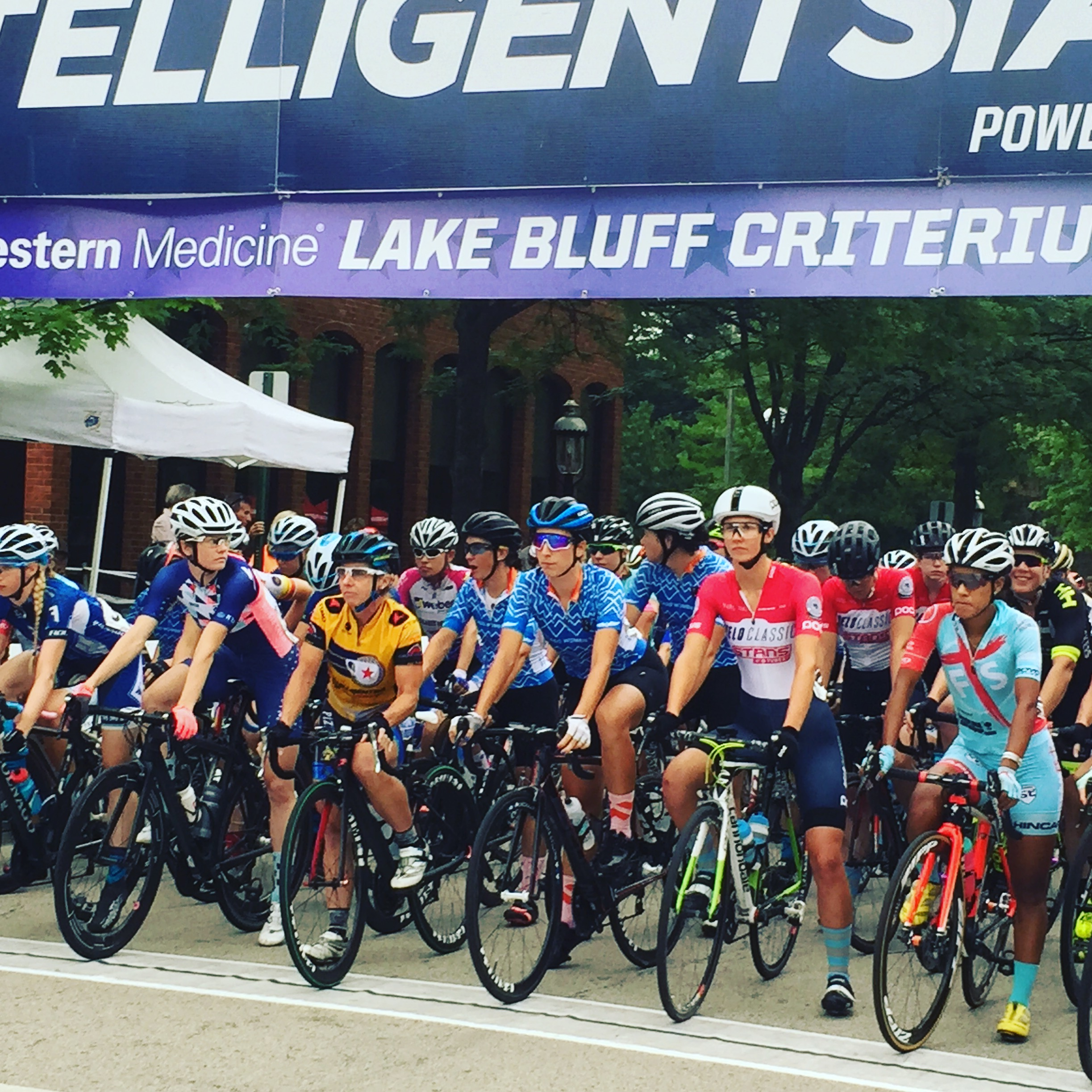 The Pro 1/2 Women lined up at the start of Lake Bluff Criterium at Intelligensia Cup in Chicago, IL. ALP Cycles Coaching athlete Daphne Karagianis of Chicago Women's Elite finished third in the omnium.