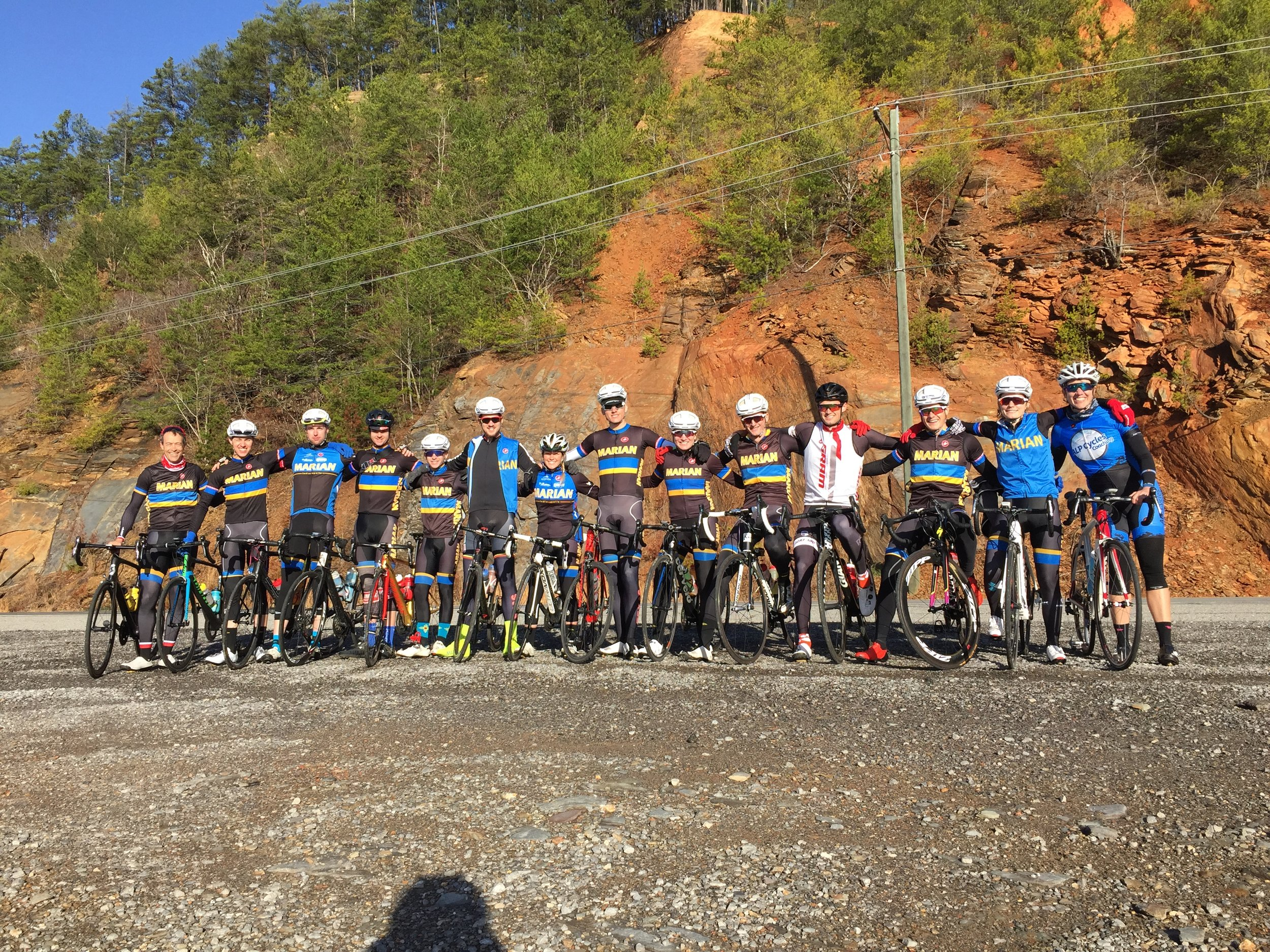 The Senior/Junior squad heading out to ride the Cherohala Skyway.