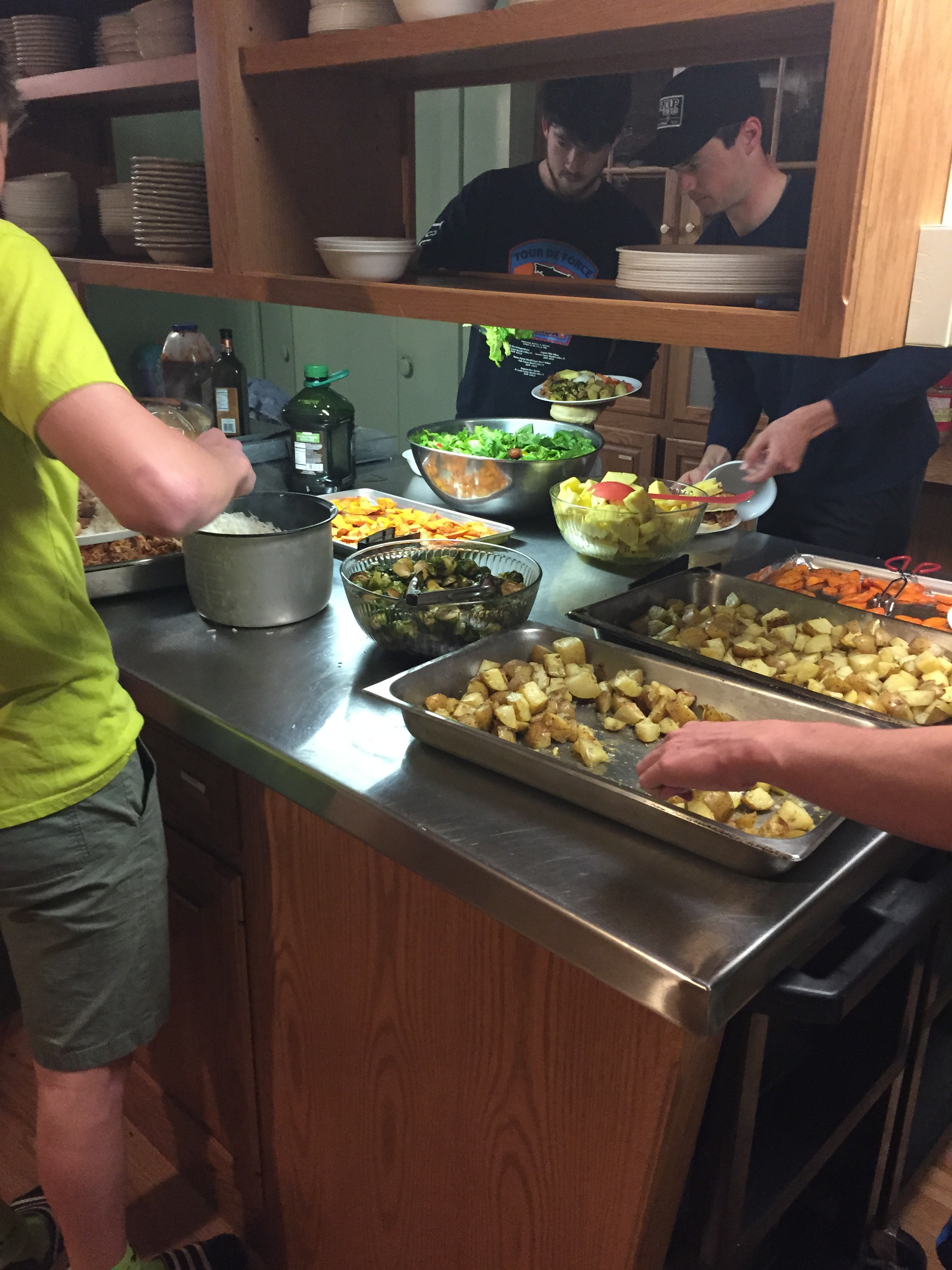 Cooking for 30 is easy when you have access to a commercial kitchen and helpers!