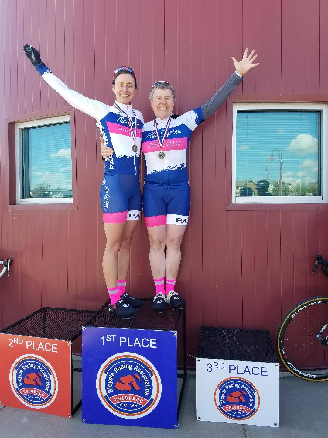 Standing on top of the podium makes all of that suffering worth it. ALP Cycles Race Team athletes Cory Popovich and Sandy North's smiles say it all.