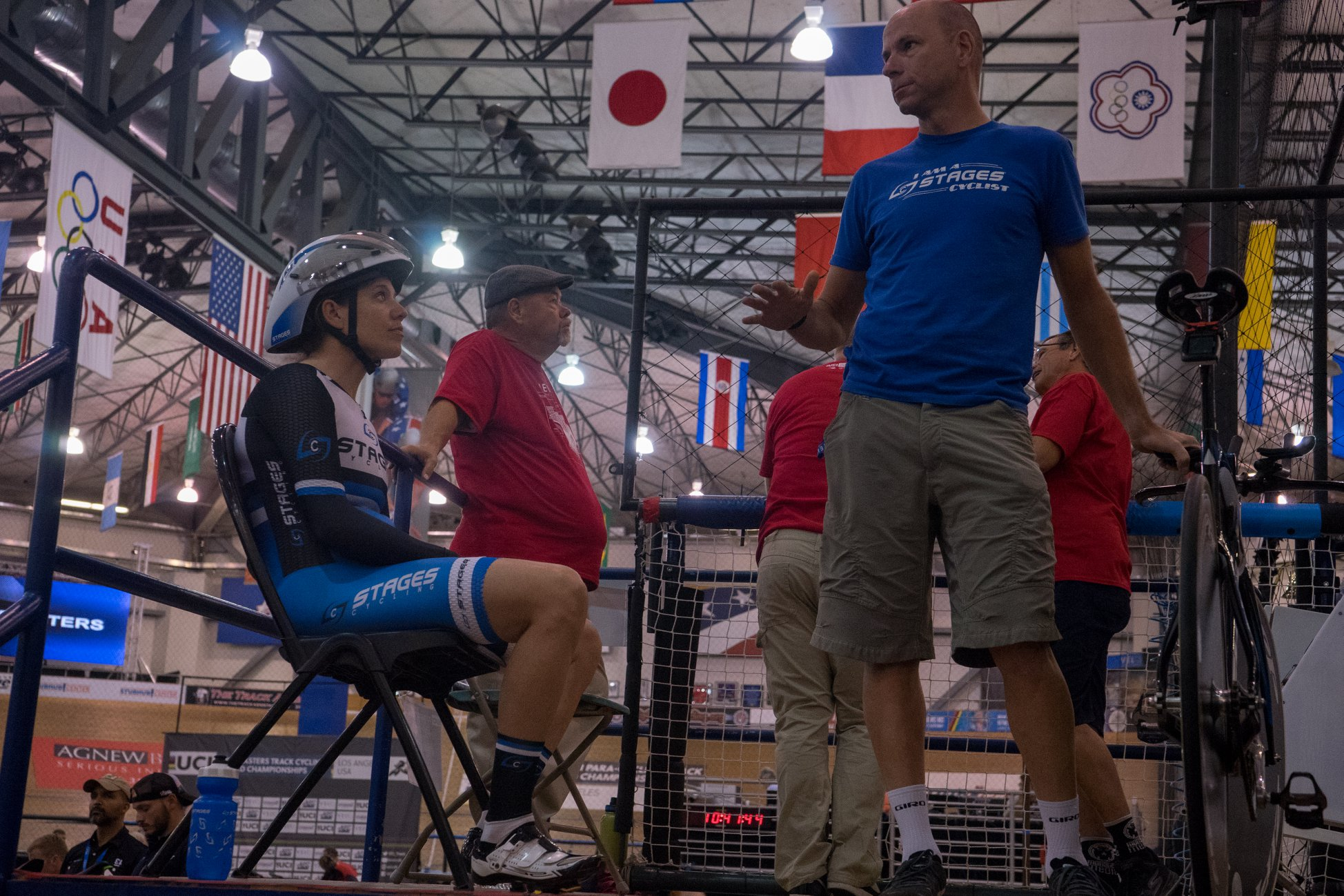 Ben and I moments before the start at the 2018 Master Track World Championships. Photo credit: Daniel Tomko