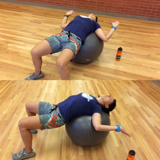 Pec Opener w/ stability/exercise ball- Elbows bent at 90 degrees, palms to the sky, rotate shoulders away from ears and back. Do in several ranges until you feel the sweet spot.