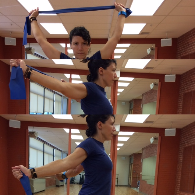 Pec opener: Use a Theraband or something similar (yoga rope or bathrobe belt.) Start overhead and rotate hands/back and behind. Shoulders are away from ears and rotated back.