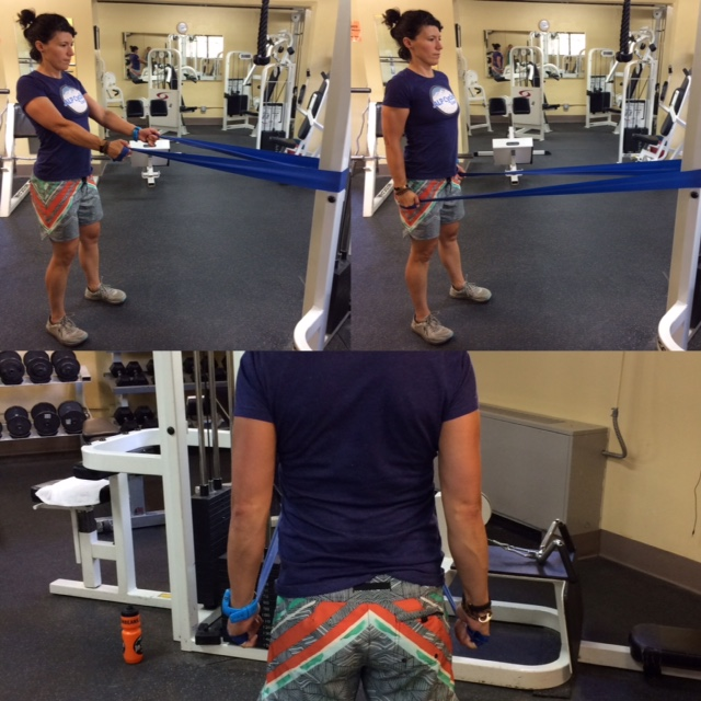 Theraband  Scapular  stabilizing- Grip as if you're holding ski poles. Arms at just below chest height, drop shoulders back and down (away from ears). Squeeze shoulders as if you're squeezing a pencil between your shoulder blades. Pull the band down and back .